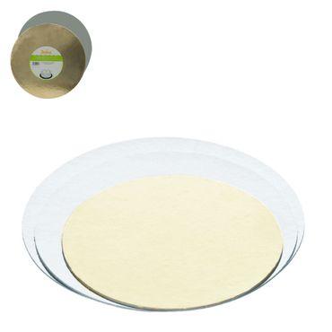 5er Paket dünne Tortenplatten 26 cm rund gold/silber