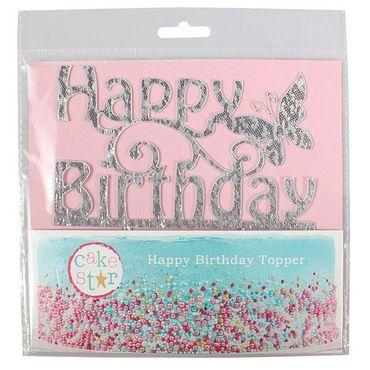 Cake Topper Happy Birthday Silber-Glitzer – Bild 2