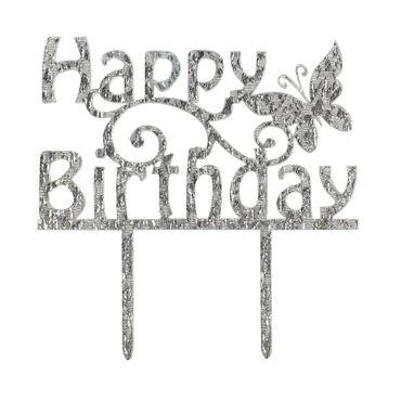 Cake Topper Happy Birthday Silber-Glitzer