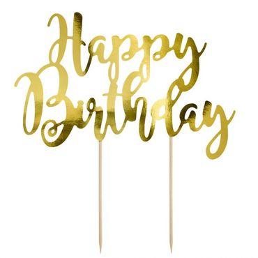 Cake Topper Happy Birthday aus gold glänzendem Karton – Bild 1