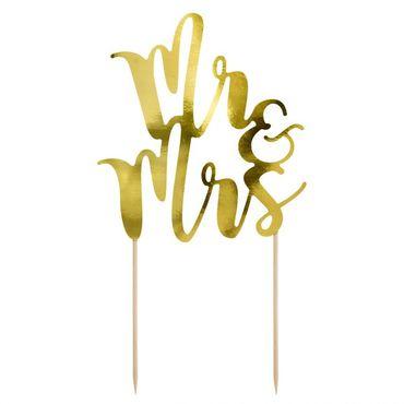 Cake Topper Mr & Mrs. aus gold glänzendem Karton – Bild 1
