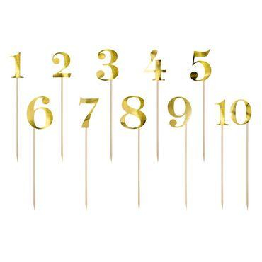Cake Topper Nummern 11-teilig aus gold glänzendem Karton