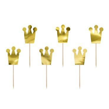 Cupcake Topper Kronen aus gold glänzendem Karton – Bild 1