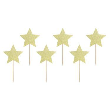 Cupcake Topper Sterne aus goldenem Glitzer-Karton – Bild 1