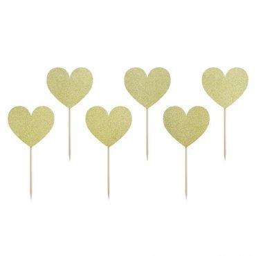 Cupcake Topper Herzen aus goldenem Glitzer-Karton – Bild 1