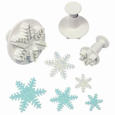 PME Schneeflocken Ausstecherset mit Auswerfer - Snowflake Plunger Cutter – 3 teilig
