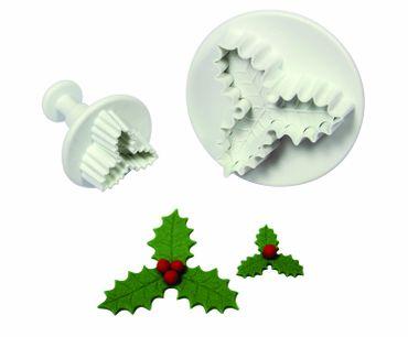 PME  Ilex Ausstecherset mit Auswerfer und Prägung - Holly Leaf Plunger Cutter - 2 teilig