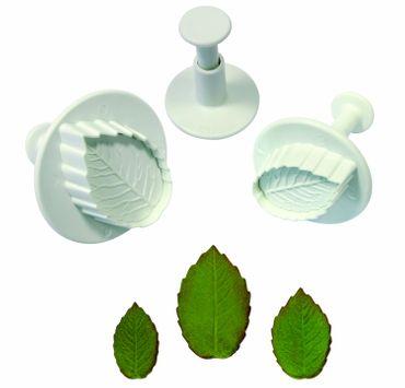 PME  Rosenblattgrün Ausstecherset mit Auswerfer und Prägung - Rose Leaf Plunger Cutter – 3 teilig