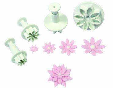 PME Gänseblümchen oder Margeriten Ausstecherset - Daisy Marguerite Plunger Cutter -4 teilig
