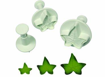 PME Efeu Ausstecherset mit Auswerfer und Prägung - Ivy Leaf Plunger Cutter - 3 teilig