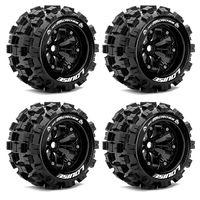 Louise MT-MCross RC Monster Reifen 1:8 Verklebt Felgen Schwarz 4Stück – Bild 1