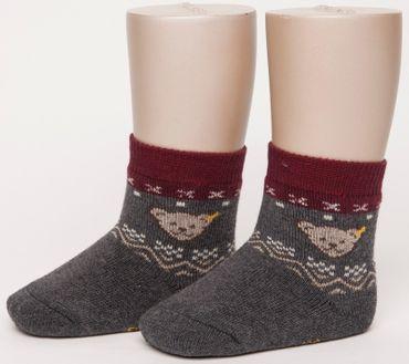 STEIFF® Voll-Frottee Socken Söckchen Norweger-Muster Grau