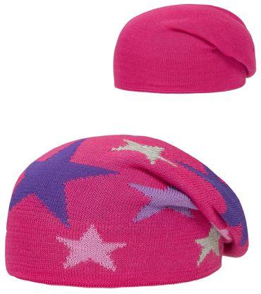 DÖLL® Mädchen Wende-Strickmütze Mütze Bohomütze Sterne
