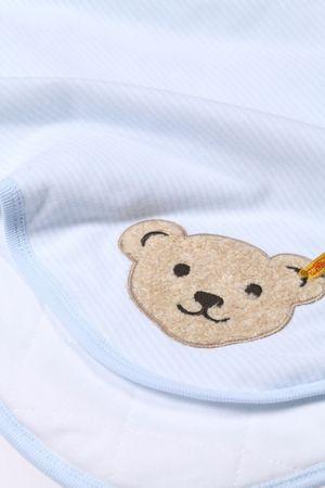 STEIFF® Baby Jersey Krabbeldecke Decke geringelt Hellblau  – Bild 3