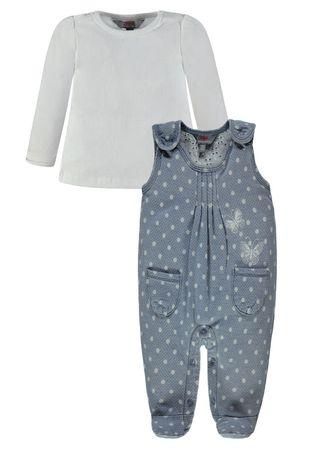 Kanz® Madchen Jeans Strampler mit Shirt Punkte  – Bild 3