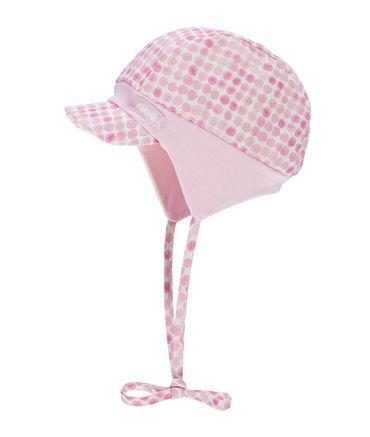 DÖLL® Baby Mädchen Ballon Bindemütze mit Shirm Punkte  – Bild 1