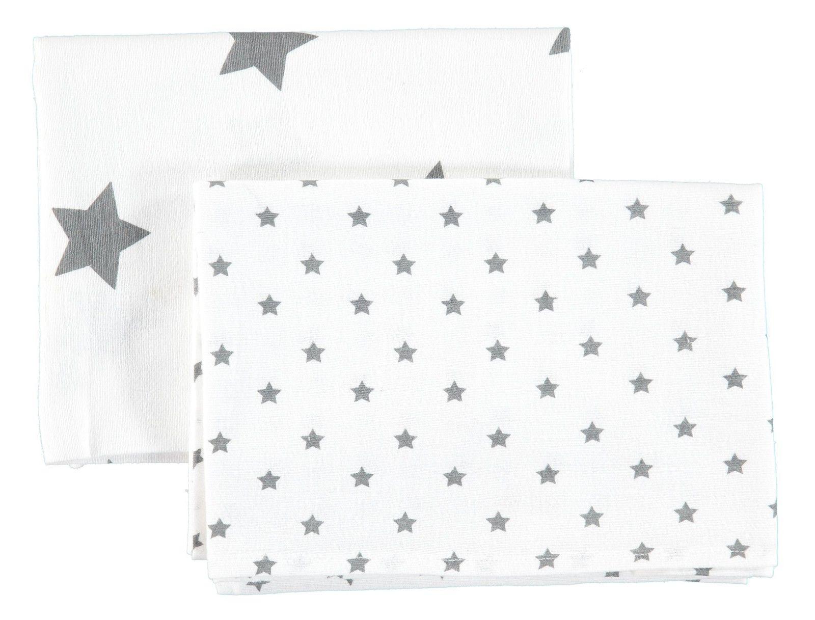 Set Moltontücher Mulltücher Spucktuch Sterne Grau NEU! bellybutton® 2 teil