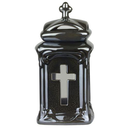 Grablicht - Kleine keramische Kapelle mit Kreuz-Motiv / 26cm Hoch & 13cm Breit / nachfüllbar