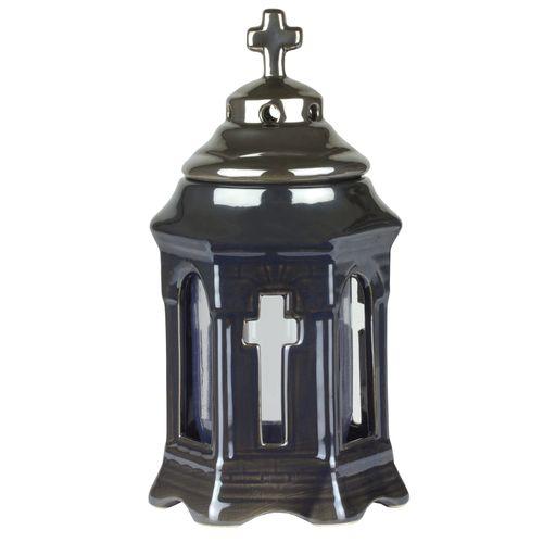 Grablicht - Kleine keramische Kapelle mit Fenstern und Kreuz-Motiv / 26cm Hoch & 14cm Breit / nachfüllbar