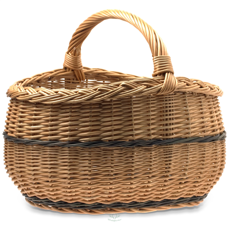 Obstkorb XXL | Weidenkorb | B/L/H: 42x50x40cm | Einkaufskorb | Flechtkorb mit Henkel