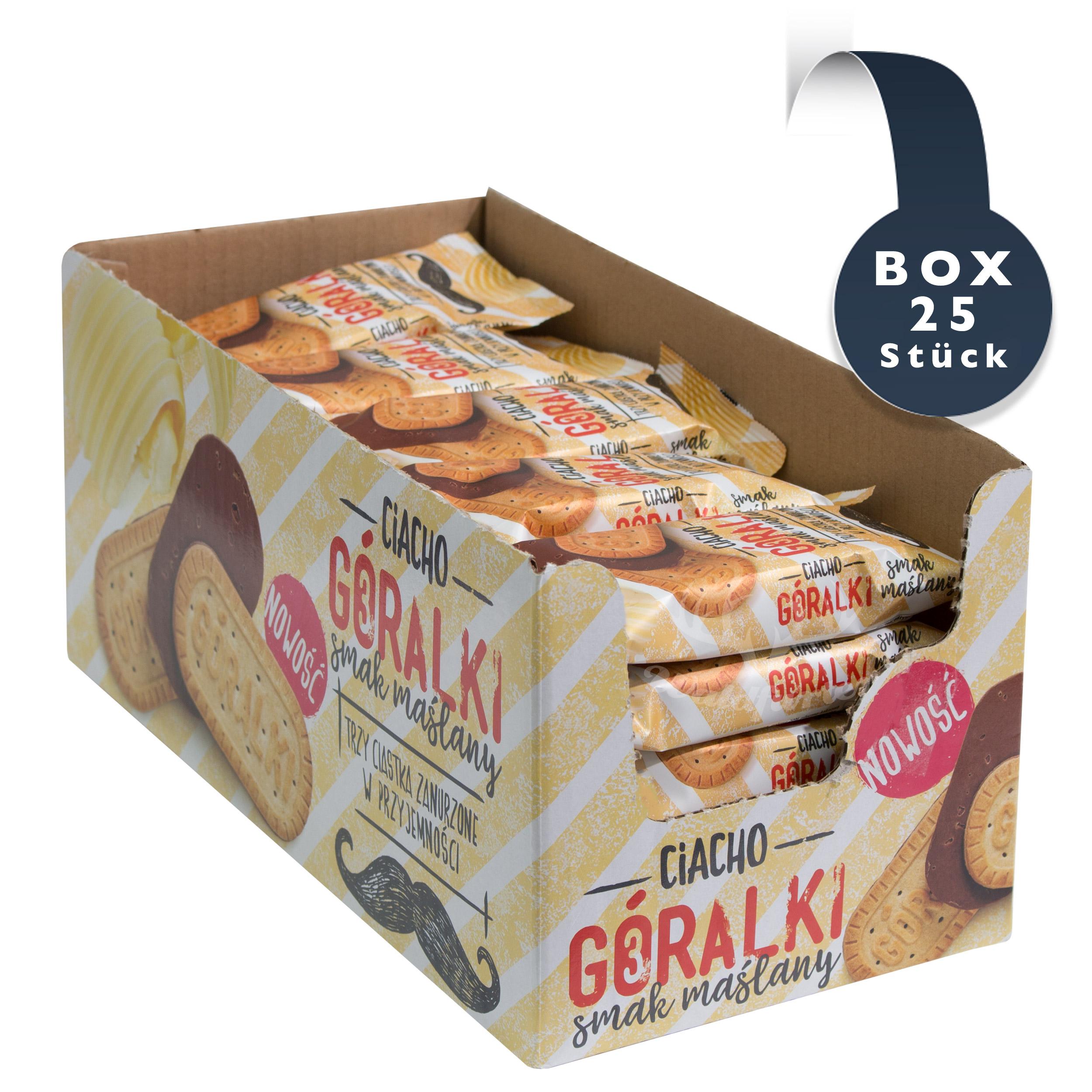 Goralki Kekse mit Kakaogeschmack (PAK 38g x 25 Stück) //   Goralki Ciacho o smaku kakaowym (Karton 38g x 25 sztuk)