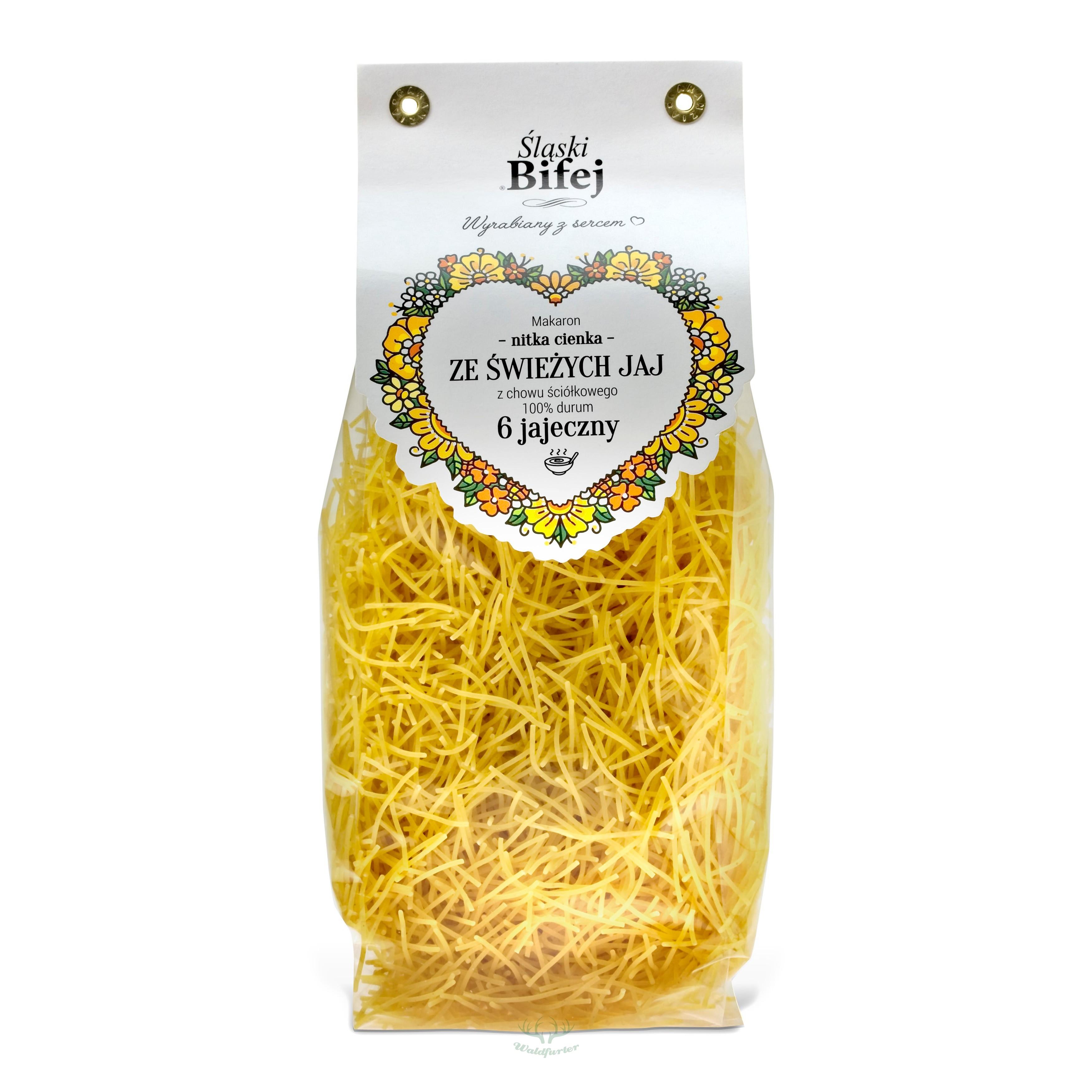 Slaski Bifej Schlesische Fadennudeln dünn aus Hartweizen 250g 6 Eier / Kg Mehl DURUM