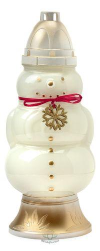 Grablicht Schneemann mit goldener Schneeflocke / 33cm Hoch & 15cm Breit / nachfüllbar