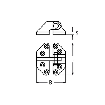 MARINOX Lukenscharnier aushängbar 74 x 65 mm | V4A – Bild 4