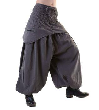 Kunst und Magie Damen Haremshose praktische Schürzentaschen Unifarben Vintage – Bild 9