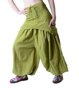 Kunst und Magie Damen Haremshose praktische Schürzentaschen Unifarben Vintage – Bild 1