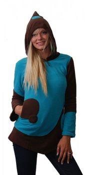 Fleece Pullover mit Zipfelkapuze Goa Psy Hippie Fraggle türkis/braun – Bild 1