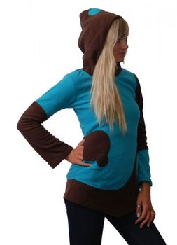 Fleece Hoodie with Elfin Hood Goa Psy Hippie Fraggle turqoise/brown – Bild 4