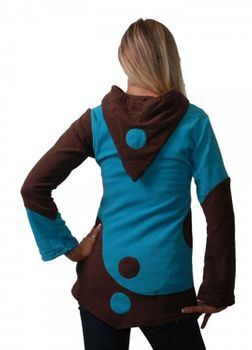 Fleece Hoodie with Elfin Hood Goa Psy Hippie Fraggle turqoise/brown – Bild 3