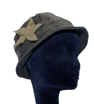 Cap Hat From Velvet Fleece Lining Hippie Layered Goa with Beige Flower