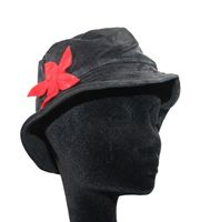 Mütze Hut aus Samt Fleecefutter Hippie Lagenlook Goa mit roter Blüte 001