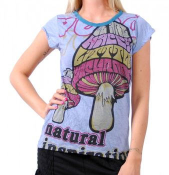 70er Retro Top Sure Magic Mushroom Psy Goa T-Shirt Girlie Blau – Bild 1