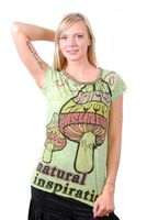 Grünes 70er Retro Top Weed Magic Mushroom Psy Goa T-Shirt Girlie 001