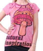 70er Retro Top Sure Magic Mushroom Psy Goa T-Shirt Girlie rosa 001