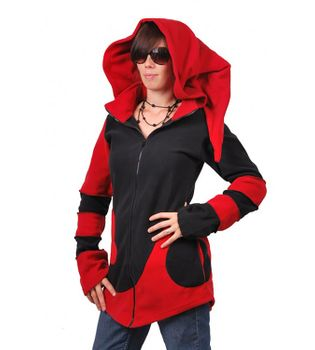 Extravagant Goa Fleece Jacket with Detachable Elfin Hood/Rot – Bild 4