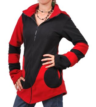 Extravagant Goa Fleece Jacket with Detachable Elfin Hood/Rot – Bild 1
