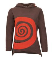 Fleece Pullover mit Zipfelkapuze Goa Psy Hippie Fraggle Braun/Orange