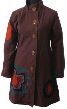 Boho Coat / Jacket Goa Psy Hippie with Patchwork Flower Brown – Bild 4