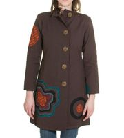 Boho Coat / Jacket Goa Psy Hippie with Patchwork Flower Brown 001