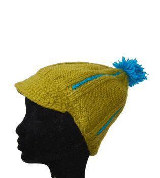 Strickmütze Mütze aus Wolle mit Schirm - Fleecefutter Cap Gelb/Blau