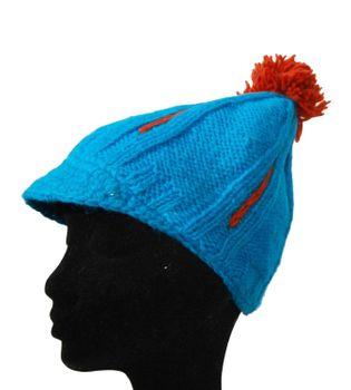 Strickmütze Mütze aus Wolle mit Schirm - Fleecefutter Cap Blau/Rot – Bild 1