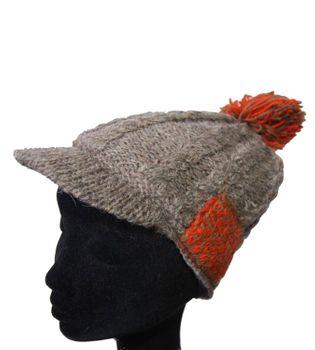 Strickmütze Mütze aus Wolle mit Schirm - Fleecefutter Cap Grau/Rot