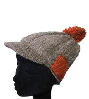 Strickmütze Mütze aus Wolle mit Schirm - Fleecefutter Cap Grau/Rot 001