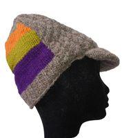 Strickmütze Mütze aus Wolle mit Schirm - Fleecefutter Cap Grau/Mehrfarbig 001