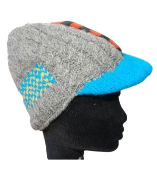 Strickmütze Mütze aus Wolle mit Schirm - Fleecefutter Cap grau mehrfarbig