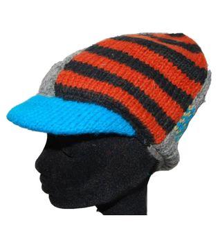 Strickmütze Mütze aus Wolle mit Schirm - Fleecefutter Cap grau mehrfarbig – Bild 2